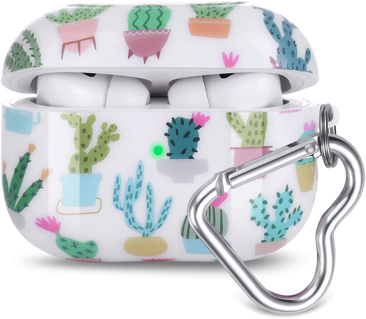 Airpods Pro Case, Olytop Cute Cactus Airpods Pro Protective Case Cover Printed Hard Skin Women Girl for Apple Airpods 3 Charging Case with Heart-Shaped Keychain AirPods Pro Accessories Set - Cactus