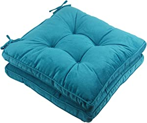 Solid Papasan Patio Seat Cushion Square Chair Pad Home Floor Cushion 18 Inch Set of 2 Throw Pillows Indoor/Outdoor with String Ties Blue