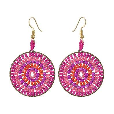 597da6e09 Beaded Drop Dangle Earrings Pink Bohemia Multicolor Round Dangling Earrings  for Girls