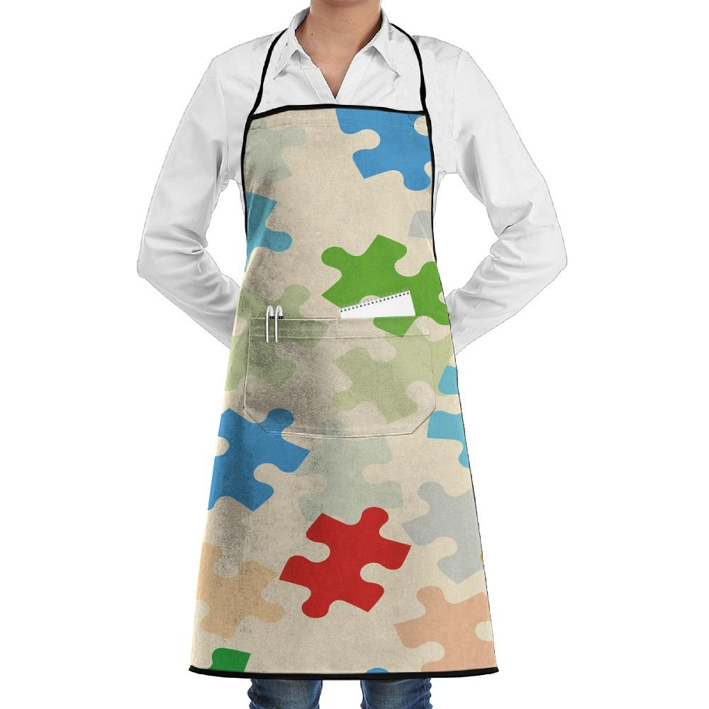 Novelty Colorful Puzzle Game Kitchen Chef Apron With Big Pockets - Chef Apron For Cooking,Baking,Crafting,Gardening And BBQ