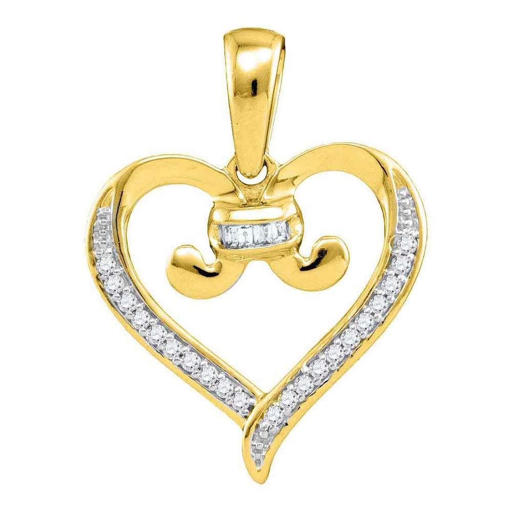 Diamond Bound Tied Heart Love Pendant 1//12ct 10k Yellow Gold