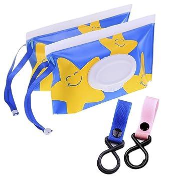 Amazon.com: 2 bolsas para toallitas húmedas + 2 ganchos para ...