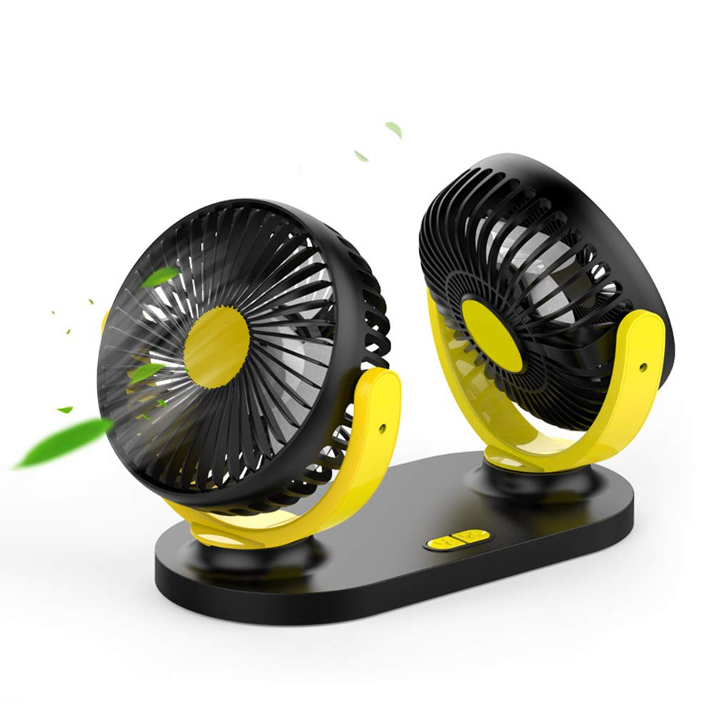Embiofuels - Double Head Shaking Head Car Fan 12V24V Universal for Auto Big Truck Keep Cool in The Car USB Small Electric Fan Car Accessories [Black Yellow]