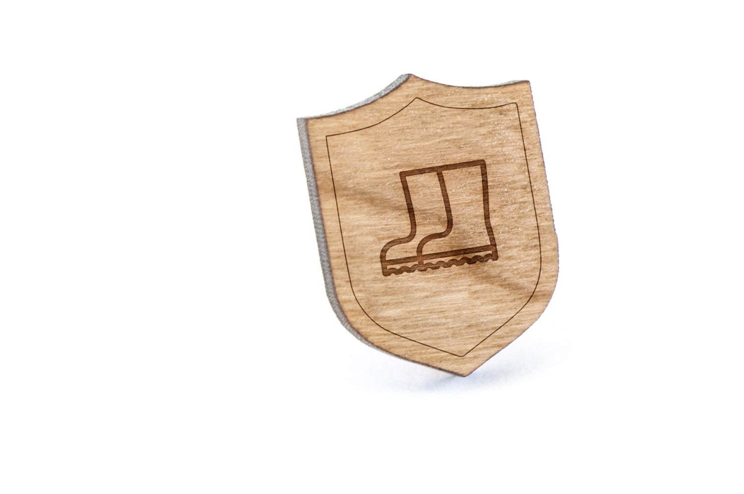 Boots Lapel Pin, Wooden Pin And Tie Tack   Rustic And Minimalistic Groomsmen Gifts And Wedding Accessories