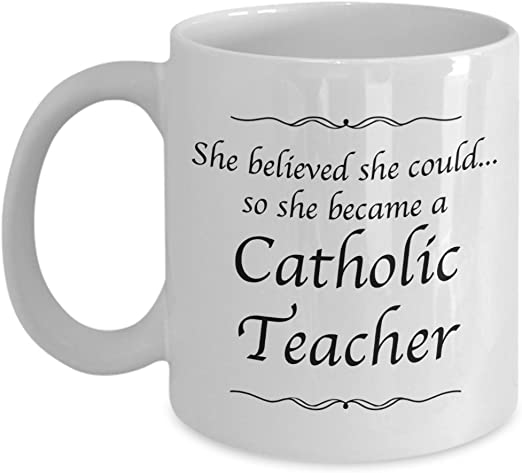 Amazon Com Ccd Catholic Teacher Gifts Mug She Believed She Could Desk Decor Gifts For Women Teapots