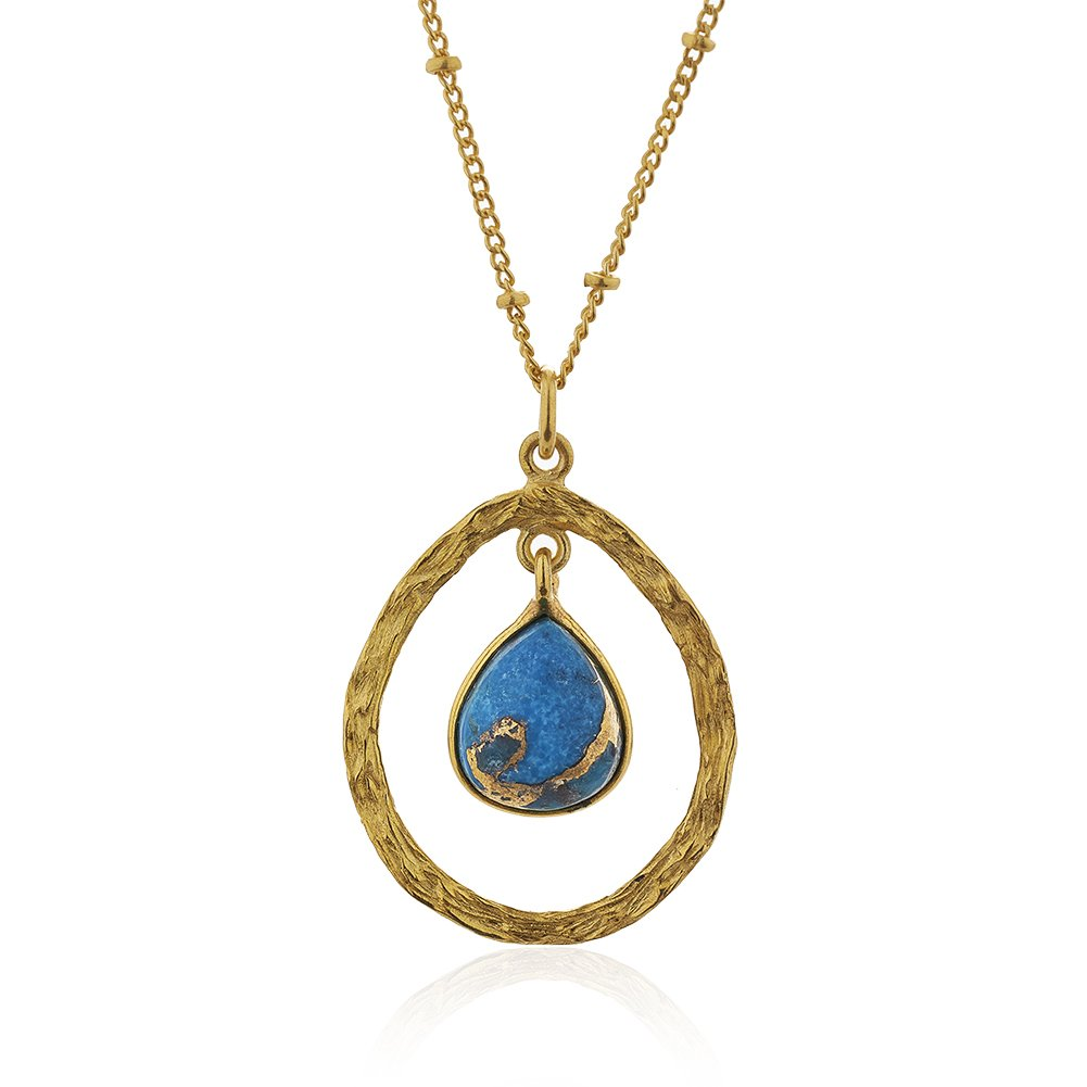 Chuvora 18K Gold-Plated Dangle Pear Shape Blue Green Reconstructed Turquoise Stone Pendant Necklace 18 inch
