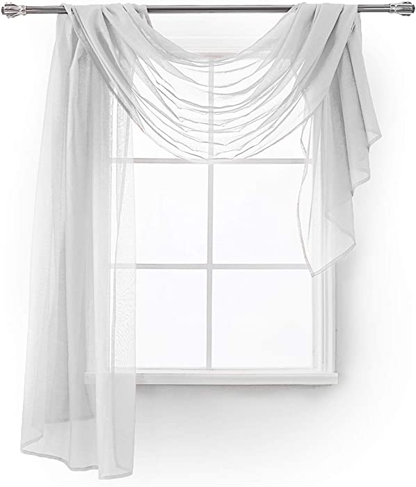 """MEMIAS Window Sheer Elegant Voile Curtain Scarf for Home, Birthday Party, Wedding Decoration, 1 Panel 54"""" W x 144"""" L, Brilliant White"""
