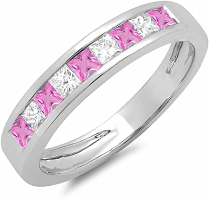 Dazzlingrock Collection Round Cut Pink Sapphire /& White Diamond Mens 7 Stone Stackable Anniversary Wedding Band Sterling Silver