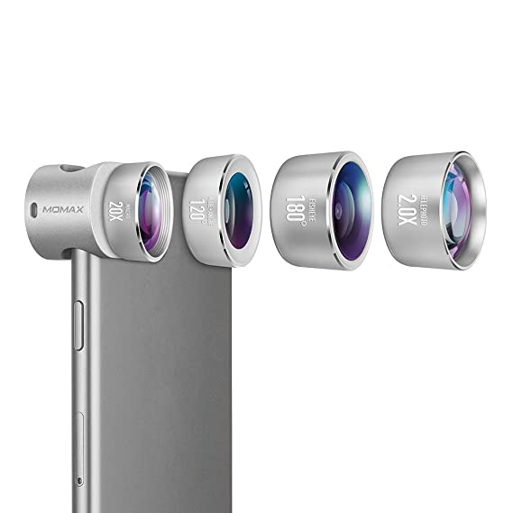 meet 056a9 a6017 MOMAX Professional iPhone 8/7 Plus Camera Lens Pro,120°Wide Angle Lens+180°  Fisheye Lens+20X Macro Lens+2X Telephoto Phone Camera Lens Kit with ...