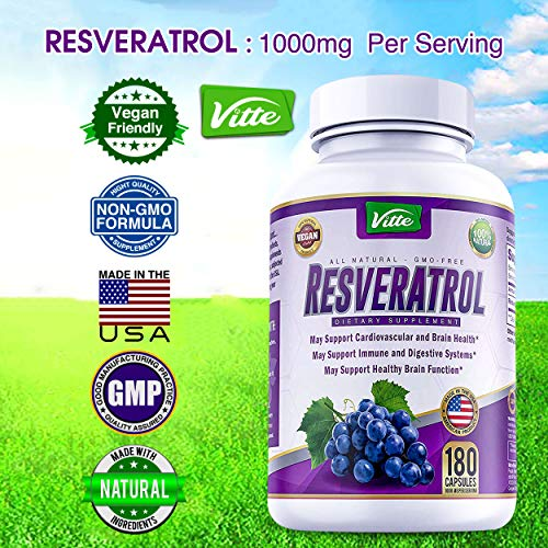 61msl6yDEzL - 100% Pure Resveratrol 1000mg Per Serving Max Strength 180 Capsules Antioxidant Supplement Extract Natural Trans-Resveratrol Pills for Heart Health and Weight Loss Made in USA
