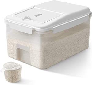 TBMax Airtight Food Storage Container with Wheels - 23 Lbs Rice Storage Bin with Measuring Cup, Cereal Container for Flour, Dry Food, Kitchen Pantry Organization