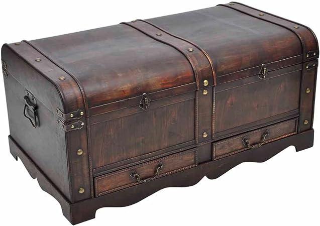 vidaXL Gran Cofre/Caja del Tesoro de Madera en Estilo Antiguo ...