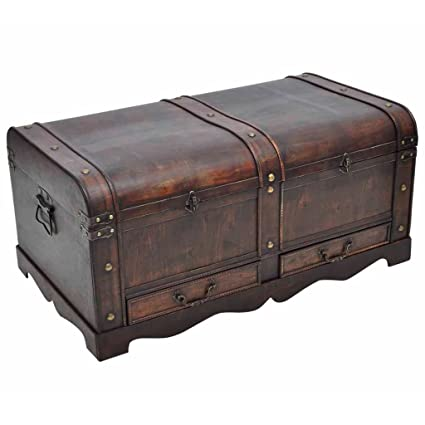 Trunk Wood Treasure Chest Storage Blanket Box Suitcase Handle Coffee Table Brown
