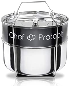 Chef Protools Stackable Steamer Insert Pans for Instant Pot Accessories 6Qt HEAVY DUTY Pot in Pot Food Steamer for Pressure Cooker Makes Lasagna and Cheesecake