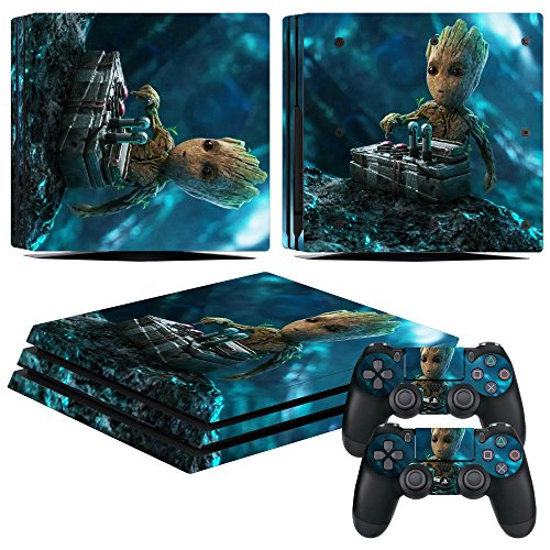 Price comparison product image EBTY-Dreams Inc. - Sony Playstation 4 Pro (PS4 Pro) - Marvel Guardians Of The Galaxy Mini Groot Vinyl Skin Sticker Decal