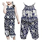 Ponce Fashion Baby Kid Girl Elephant Strap Vest with Floral Print Pant Jumpsuit 2Pcs Set