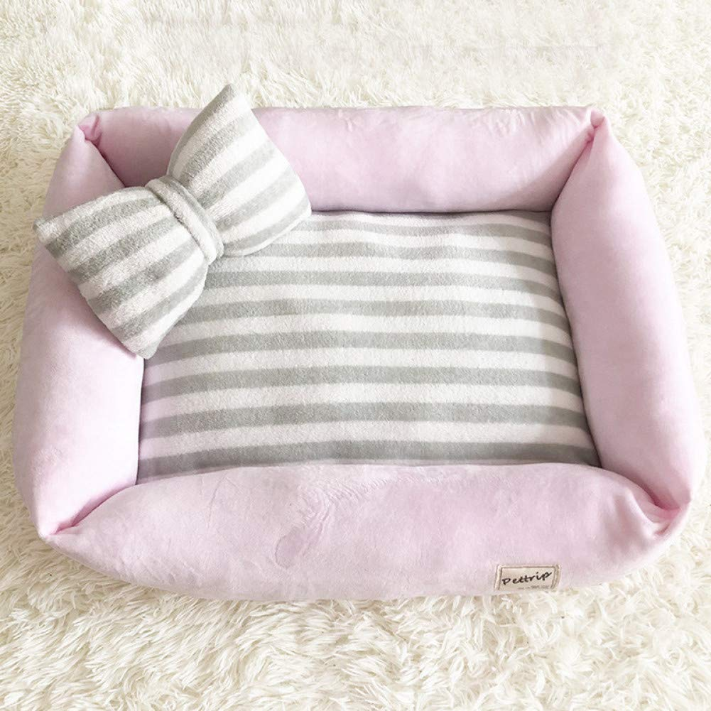 Pink 50x40cm CZHCFF Cat comfortable bed washable removable washer thick kennel kennel with bow washable pillow pet kennel