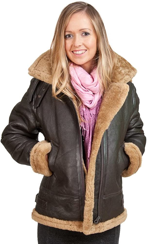 The Leather Factory Womens Lambskin Detachable Hooded Leather Bomber Jacket