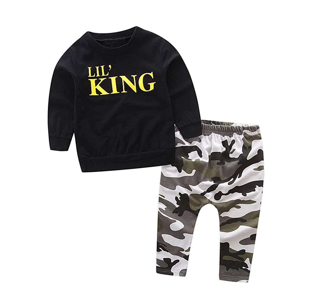 cba64e1a HBER 1-6T Baby Toddler Little Boys Spring Fall Clothes Lil King Black  T-Shirt + Camo Pants Outfits Set