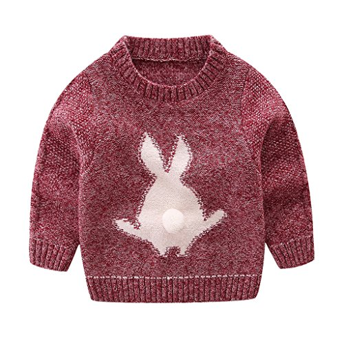 Mud Kingdom Little Boys Cute Rabbit Sweaters Pullover 3T Red