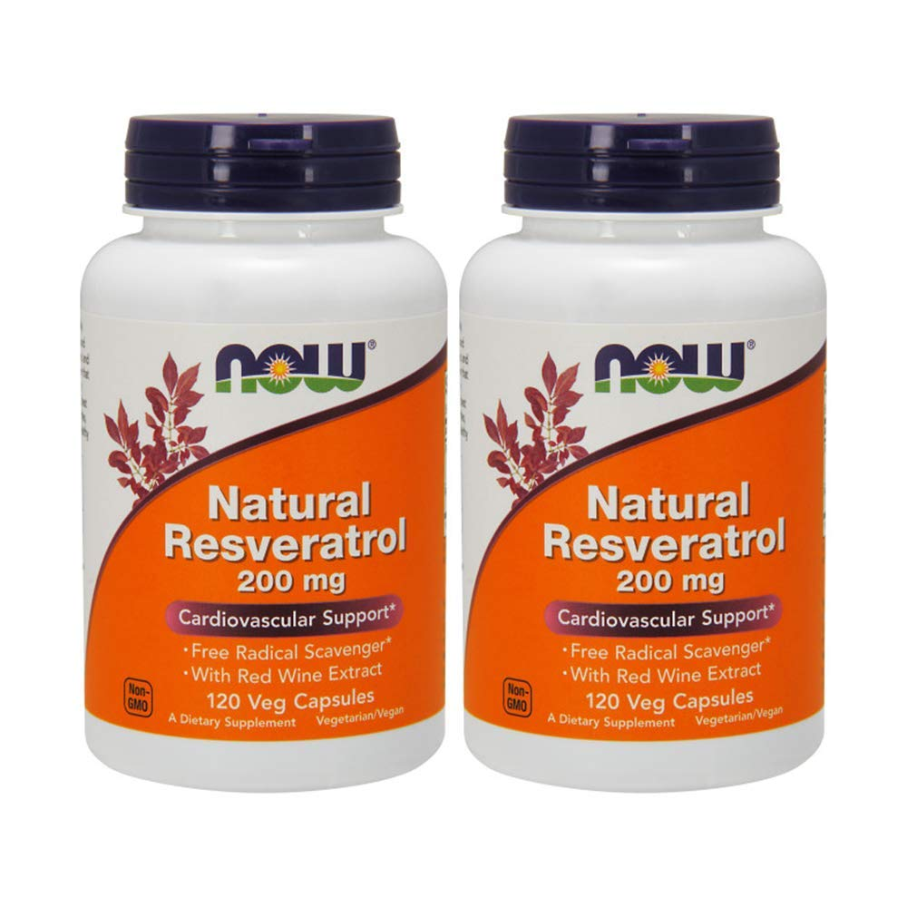 NOW Foods Natural Resveratrol, 200mg, 120 Vcaps (Pack of 2) by NOW Foods