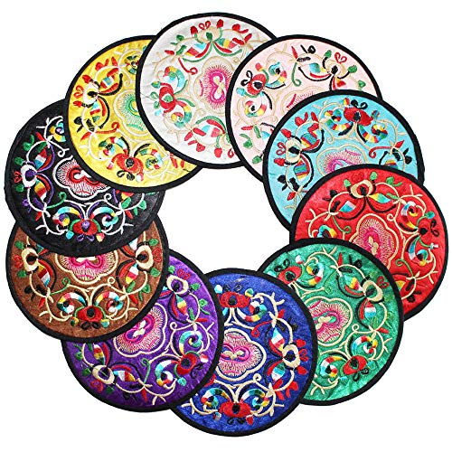 Chinese Gifts - KEPSWET Coasters Set of 10 Floral Embroidery 4.9
