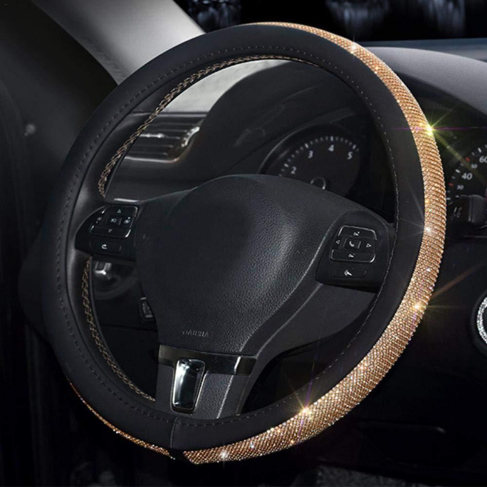 feiledi Trade PU Leder Auto Auto Lenkradabdeckung Soft Skidproof Abdeckung Crystal Bling Bling Strass 15// 38 cm