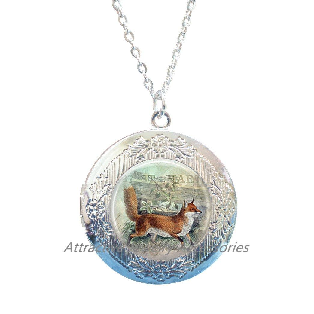 Fox Locket Necklace Glass Locket Pendant Locket Necklace Fox Jewelry,Fox Locket Pendant Wearable Art Jewelry Animal Locket Necklace,QK008