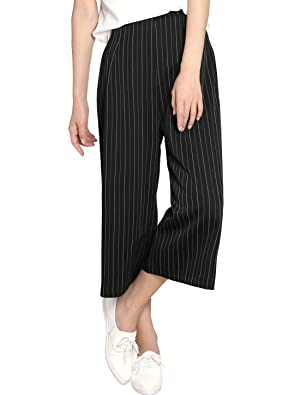 Allegra K Women Concealed Zipper Side Stripes Capris Culottes M Black