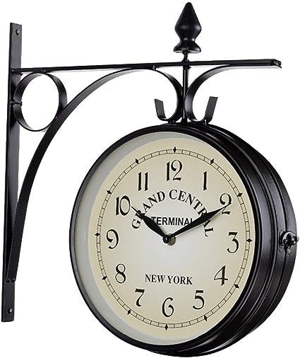 Horloge Murale r/étro Horloge Murale en Fer Double Face Cadran Double Face before now Horloge cr/éative diam/ètre du Cadran 25 cm int/érieur et ext/érieur d/écoration int/érieure