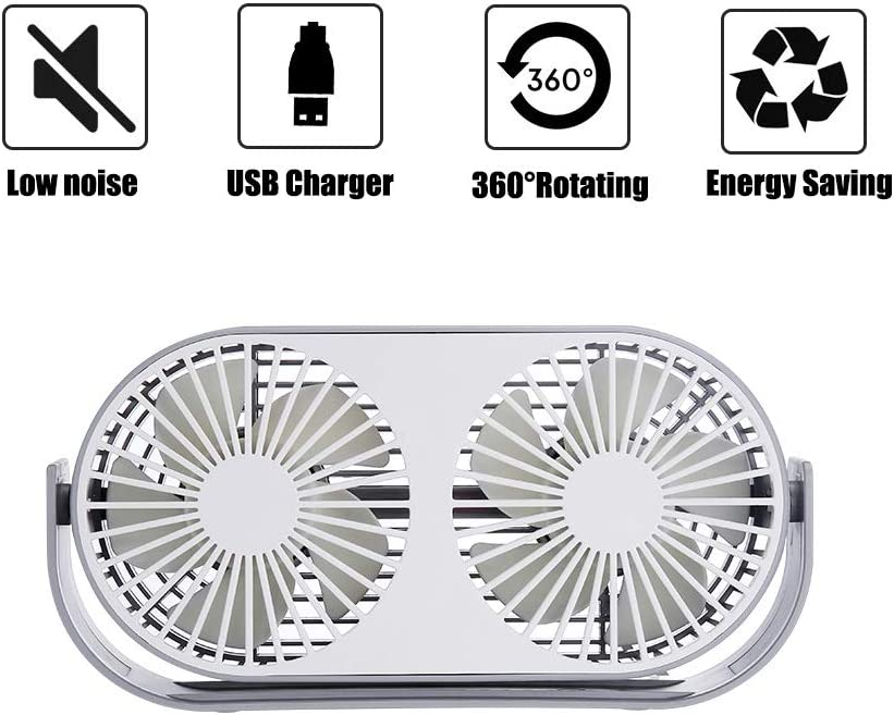 Excitingus 4.6 Inch Mini USB Desk Fan, 3 Speeds, Double Fan Blade, Dual Modes, Bullt in Aromatherapy Tables, USB Powered ONLY No Battery , Perfect Fan for The Office and Home