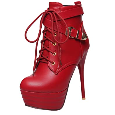 AIYOUMEI Damen Stiletto Plateau Stiefeletten mit Fell und Schnalle High Heels Kurzschaft Stiefel 0YLx1P