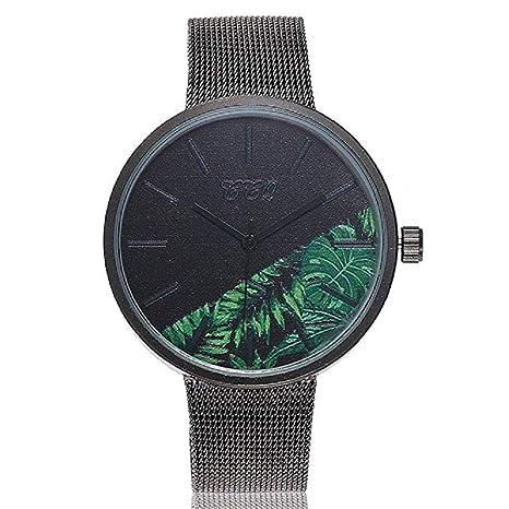 Reloj de Cuarzo para Mujer Flor de Moda Banda de Malla de Acero Inoxidable Elegante Casual Relojes analógicos (B): Amazon.es: Relojes