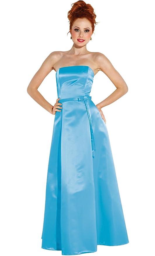 Amazon.com: 50s Strapless Satin Long Bridesmaid Prom Dress Formal ...