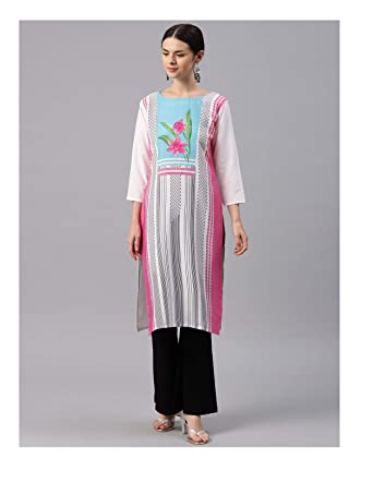 bcbbbf2e5d695 Hiral Designer Mall Women Dress Kurta Off-White   Pink Printed Straight  Kurta for women