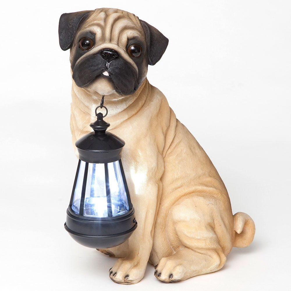 Bits and Pieces - Fawn Pug Solar Lantern - Solar Powered Garden Lantern - Resin Dog Sculpture With LED Light - Outdoor Lighting and Décor