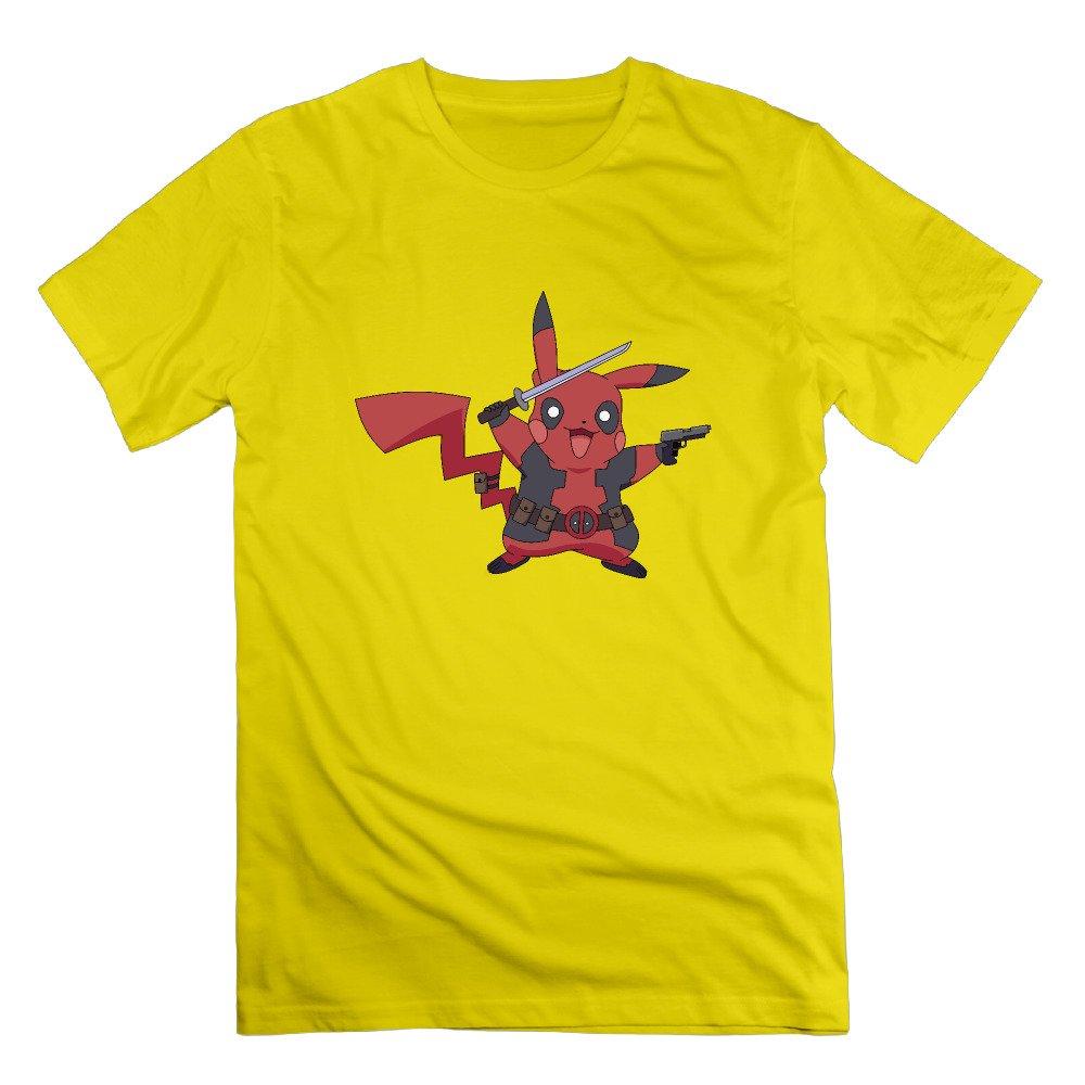 1b216bb4b Men s Fashion Pikapool Pikachu Deadpool Funny Graphic Short-Sleeve Cotton T  Shirt Jersey X-Large Yellow