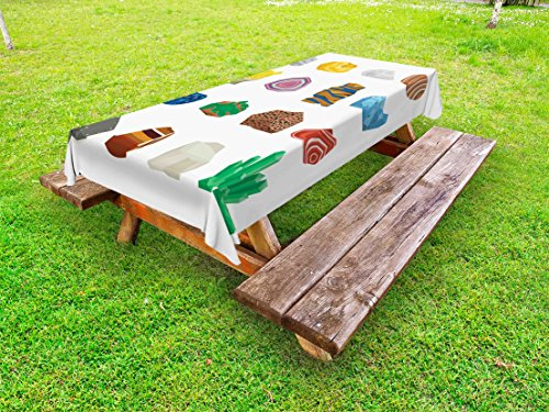 Lunarable Geode Outdoor Tablecloth, Colorful Mineral Stones Pattern with Spots Stripes and Circular Shapes Geology Theme, Decorative Washable Picnic Table Cloth, 58