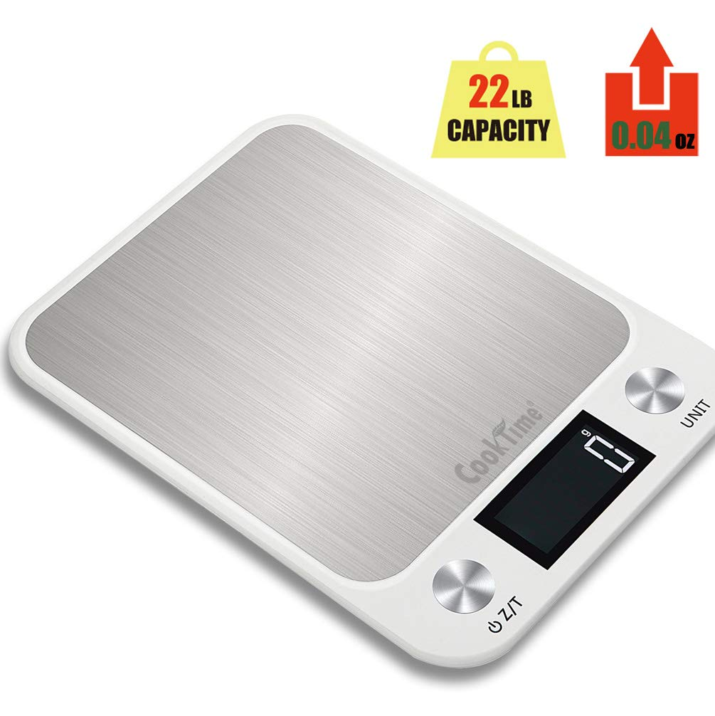 Digital Kitchen Scale&Ultra Slim Food Scale-Seven Weight Units,LCD Display,Stainless Steel Multi/Pro Scale Grams and Ounces,Good Waterproof Property,22lb/10kg capacity, 0.04oz/1g(Batteries Included)