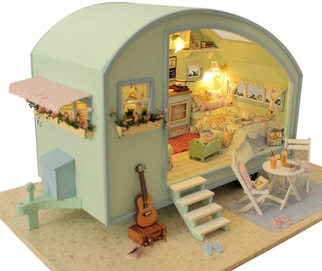 Wooden Furniture Handmade Dollhouse Miniature DIY Kit Romantic Cafe Series Scale