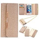Sammid Galaxy S9 Plus Shinning Cover 6.2 inch, 2 in 1 Detachable PU Leather Magnet Handbag Wallet Case Cover with Built-in Credit Card/ID Card Slots for Samsung Galaxy S9 Plus - Rose Gold