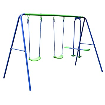 Metal Frame Tolddle Swing Outdoor Playing Children Swing Set(2 swings and a seesaw), Christmas, Birthday Gift