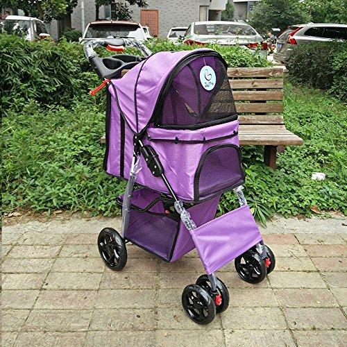 NAUY- Vierrad einfache Falten Haustier Trolley Hund Katzen Und Hunde Teddy Trolley Käfig Outdoor Reise Waren ( Farbe : Lila )