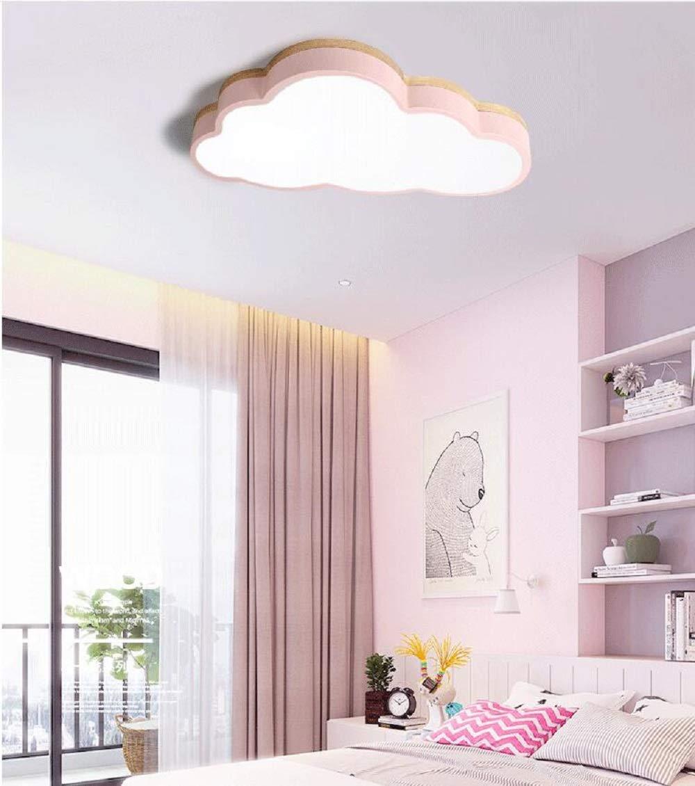 blauer Rand【50 * 28cm】36W, dreifarbiges Licht LED Deckenleuchte holz Kinderzimmer Jungen M/ädchen Schlafzimmer kreative Wolken