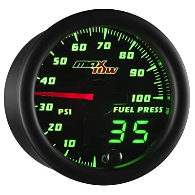 "MaxTow Double Vision 100 PSI Fuel Pressure Gauge Kit - Includes Electronic Sensor - Black Gauge Face - Green LED Illuminated Dial - Analog & Digital Readouts - for Trucks - 2-1/16"" 52mm: Automotive"