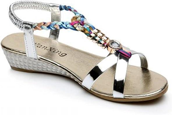 Amlaiworld Sandales Femmes Mode /Ét/é Boh/ème Sandales Sandales Perl/ées Sucr/ées Clips Sandales Toe Chaussures de Plage Sandales /à Chevrons Chaussures