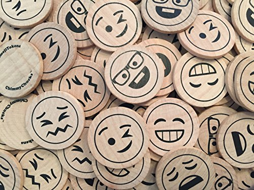 "ChimmyChucks (TM) EmojiTokens 1-1/2"" Wood Emoji Emoticon (100 pcs) with Cotton Bag"