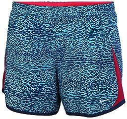 Nike Big Girls\' (7-16) Dri-Fit 5K Printed Running Shorts-Light Blue-Medium