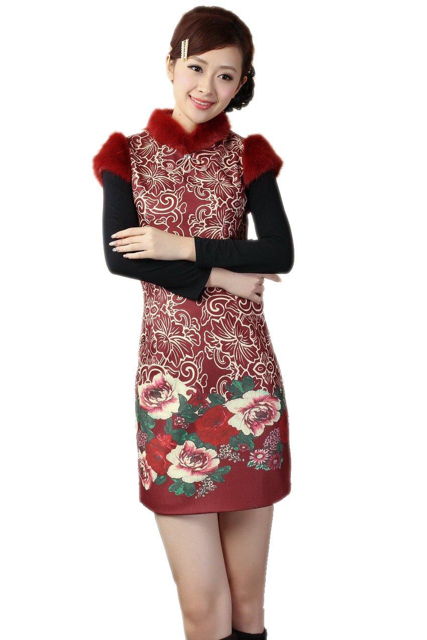 JTC Women's Winter Thickening Cotton-padded Chinese Cheongsam (large)