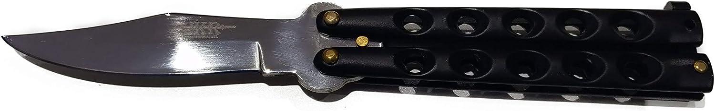 JKR Navaja Abanico pu/ño y Hoja de Acero INOX en Color Negro Hoja 10,5 cm